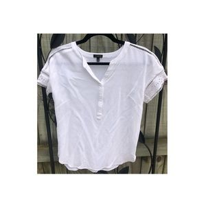 Talbots Small White Blouse with eyelet sleeves